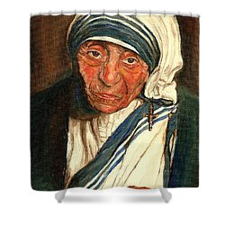 Shower Curtain featuring the painting Mother Teresa  by Carole Spandau