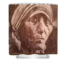 Shower Curtain featuring the drawing Mother Teresa  by Gavin Dorsey