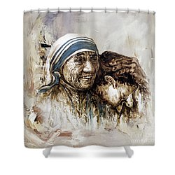 Shower Curtain featuring the painting Mother Teresa  by Gull G