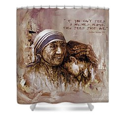 Shower Curtain featuring the painting Mother Teresa Of Calcutta  by Gull G