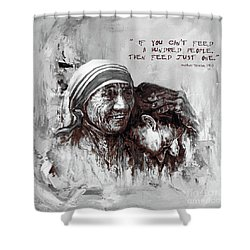 Shower Curtain featuring the painting Mother Teresa Of Calcutta Portrait  by Gull G