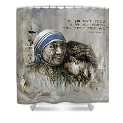 Shower Curtain featuring the painting Mother Teresa Portrait  by Gull G