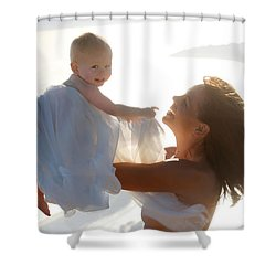 Mother With Baby In Pure Joy, Marin County, California Shower Curtain