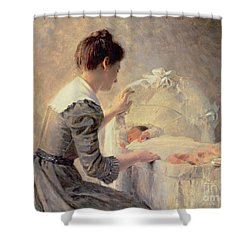 Motherhood Shower Curtain by Louis Emile Adan