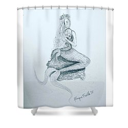 Motherhood Mermaid Shower Curtain