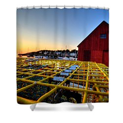 Motif 1 Lobster Trap Sunrise Shower Curtain