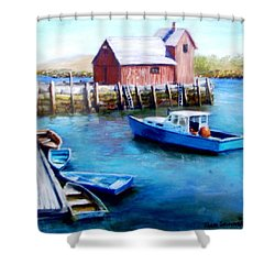Shower Curtain featuring the painting Motif One Rockport Harbor by Jack Skinner