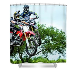 Shower Curtain featuring the photograph Motocross Battle by David Morefield