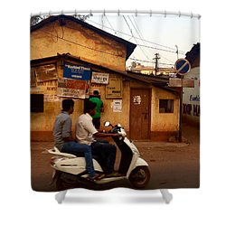 Motorbike Crossing Goa Times Newstand Shower Curtain by Funkpix Photo Hunter