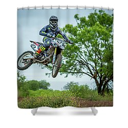 Shower Curtain featuring the photograph Motocross Aerial by David Morefield