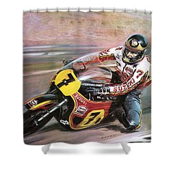 Motorcycle Racing Shower Curtain by Graham Coton