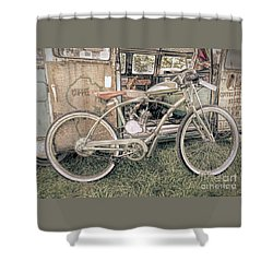 Motorized Bike Shower Curtain by Marion Johnson
