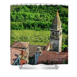Motovun Istrian Hill Town - A View From The Ramparts, Istria, Croatia Shower Curtain