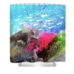 Shower Curtain featuring the painting Motu Anua by Ed Heaton