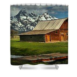 Moulton Barn Springtime Panorama Shower Curtain by Adam Jewell