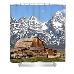 Moulton Barn Homestead Spring Panorama Shower Curtain by Adam Jewell