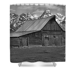 Moulton Barn Springtime Black And White Shower Curtain by Adam Jewell
