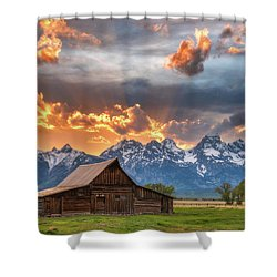 Moulton Barn Sunset Fire Shower Curtain by Darren White