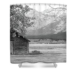 Shower Curtain featuring the photograph Moulton Homestead - Granary by Colleen Coccia