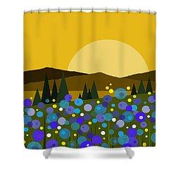 Mounntain Meadow Sunrise - Bluebells Shower Curtain