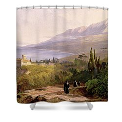 Mount Athos And The Monastery Of Stavroniketes Shower Curtain by Edward Lear