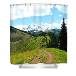Mount Baker From The Skyline Divide Trail Shower Curtain by Karen Molenaar Terrell