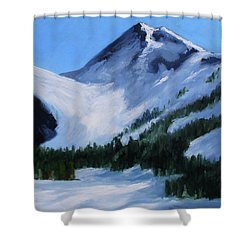 Shower Curtain featuring the painting Mount Baker Glacier by Nancy Merkle