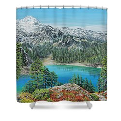 Shower Curtain featuring the painting Mount Baker Wilderness by Jane Girardot
