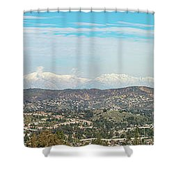 Mount Baldy And Mountain High Shower Curtain by Angela A Stanton