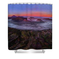 Mount Bromo Misty Sunrise Shower Curtain