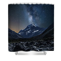 Mount Cook At Night Shower Curtain by Martin Capek