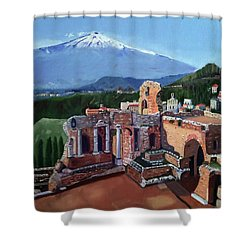 Mount Etna And Greek Theater In Taormina Sicily Shower Curtain