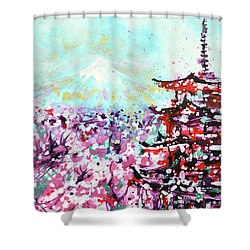 Shower Curtain featuring the painting Mount Fuji And The Chureito Pagoda In Spring by Zaira Dzhaubaeva