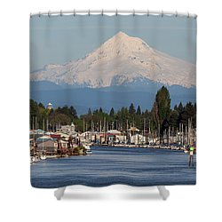 Mount Hood And Columbia River House Boats Shower Curtain by David Gn