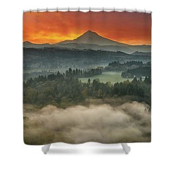 Mount Hood And Sandy River Valley Sunrise Shower Curtain by David Gn