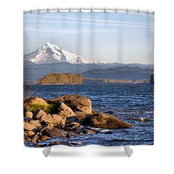 Mount Hood And The Columbia River Shower Curtain by Jim Walls PhotoArtist