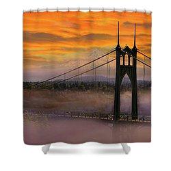 Mount Hood By St Johns Bridge During Sunrise Shower Curtain