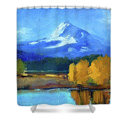 Shower Curtain featuring the painting Mount Hood by Nancy Merkle