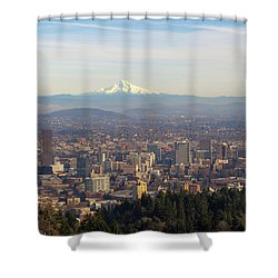 Mount Hood Over City Of Portland Oregon Shower Curtain by David Gn