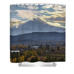 Mount Hood Over Hood River Valley In Fall Shower Curtain