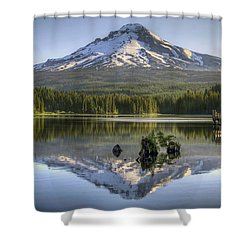 Mount Hood Reflection On Trillium Lake Shower Curtain by David Gn