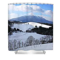 Mount Jefferson Winter Shower Curtain by Dale R Carlson