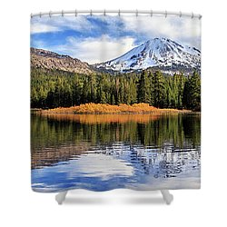 Mount Lassen Reflections Panorama Shower Curtain