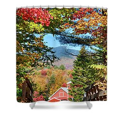 Shower Curtain featuring the photograph Mount Mansfield Seen Through Fall Foliage by Jeff Folger