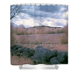Mount Monadnock In Infrared Shower Curtain by Tom Singleton