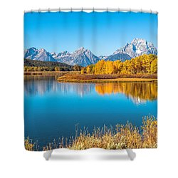 Mount Moran From The Snake River In Autumn Shower Curtain by James Udall