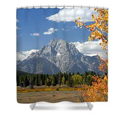 Mount Moran In Autumn Shower Curtain by Larry Ricker