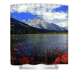 Shower Curtain featuring the photograph Mount Moran In The Fall by Raymond Salani III