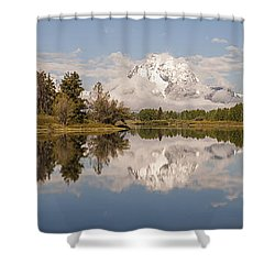Mount Moran On Oxbow Bend Panorama Shower Curtain by Brian Harig