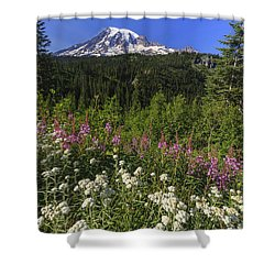 Mount Rainier Shower Curtain by Adam Romanowicz